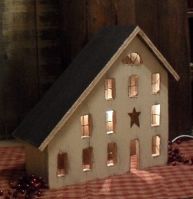 Lighted Country Houses And Primitive Saltbox Houses